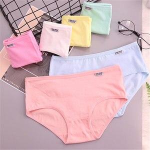 Image 2 - 6 Stuks Katoenen Meisjes Ondergoed Solid Lage Taille Korte Slips Comfortabele Antibacteriële Vrouw Slipje 100% Merk