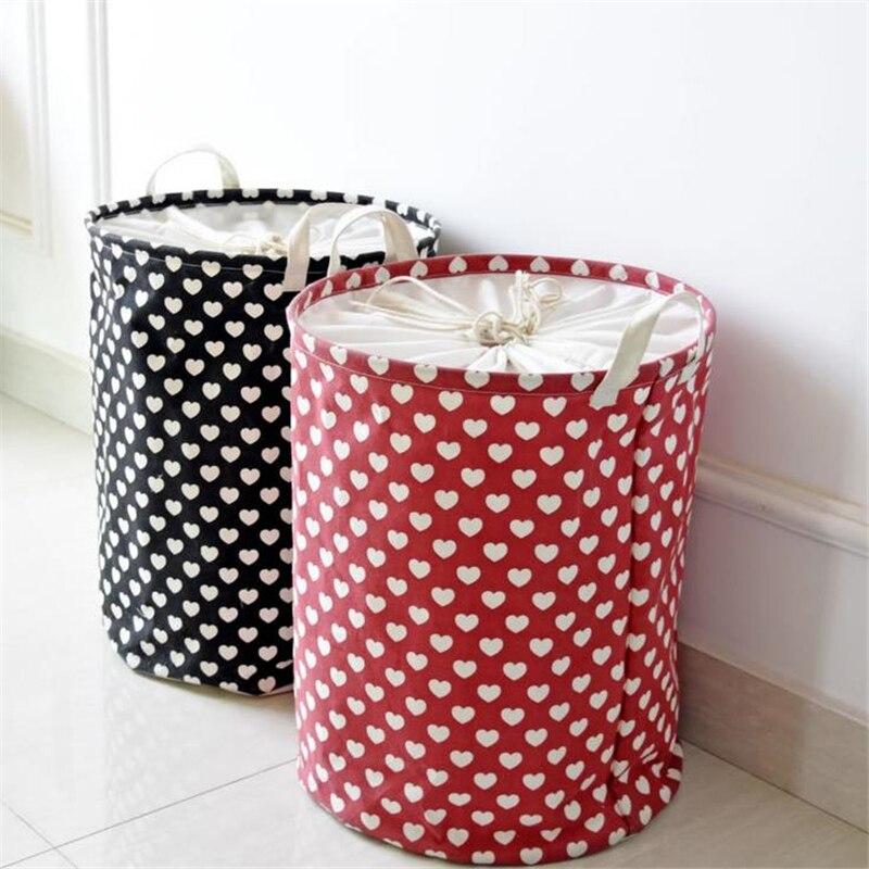 Doreen Box 35x45cm Home Sundries Storage Barrel Bag Heart Linen Dust-proof Waterproof Folding Dirty Clothes Laundry Basket Large