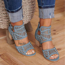 Hollow Out Peep Toe Square Heel Wedges Sandals