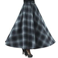 Winter Skirt Women Party Casual Long Maxi Skirt Vintage Autumn High Waist Big Sing Around Plaid