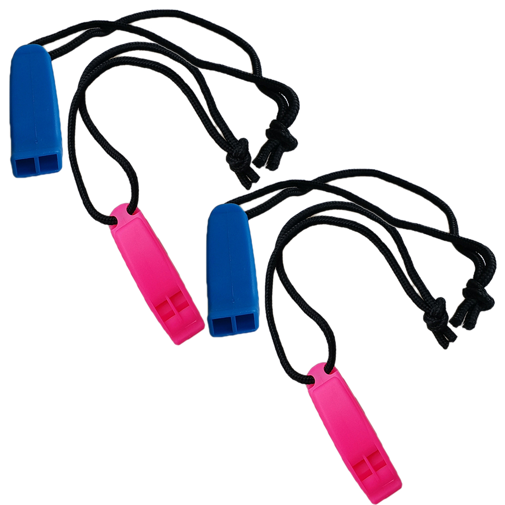 4 Pieces Durable Safety Whistle and Lanyard For Scuba Diving Fishing Hiking Outdoor Sports Travel