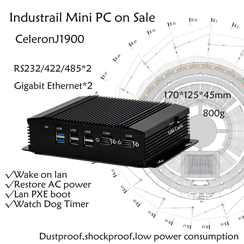 Dual COM Dual LAN Fanless Mini PC Intel Celeron J1900 RS232,422,485 COM USB WIFI industrial PC Desktop Computer-in Mini PC from Computer & Office