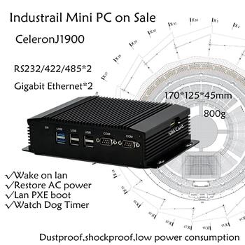 Dual COM Dual LAN Fanless Mini PC Intel Celeron J1900 RS232,422,485 COM USB WIFI industrial PC Desktop Computer