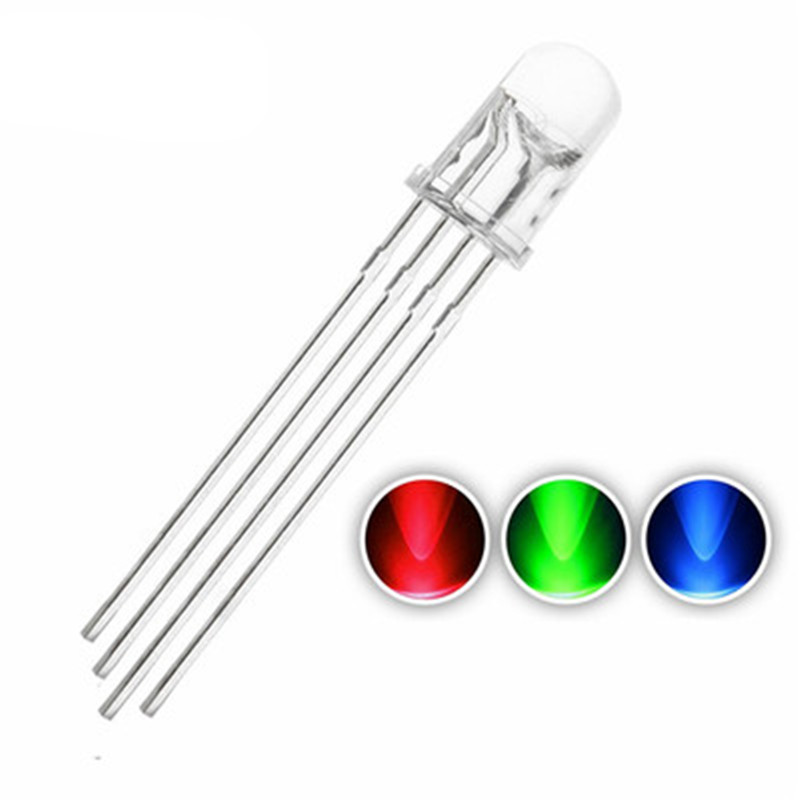 1000pcs 5mm RGB LED Common Cathode Tri Color Emitting Diodes F5 RGB Diffused RED GREEN BLUE