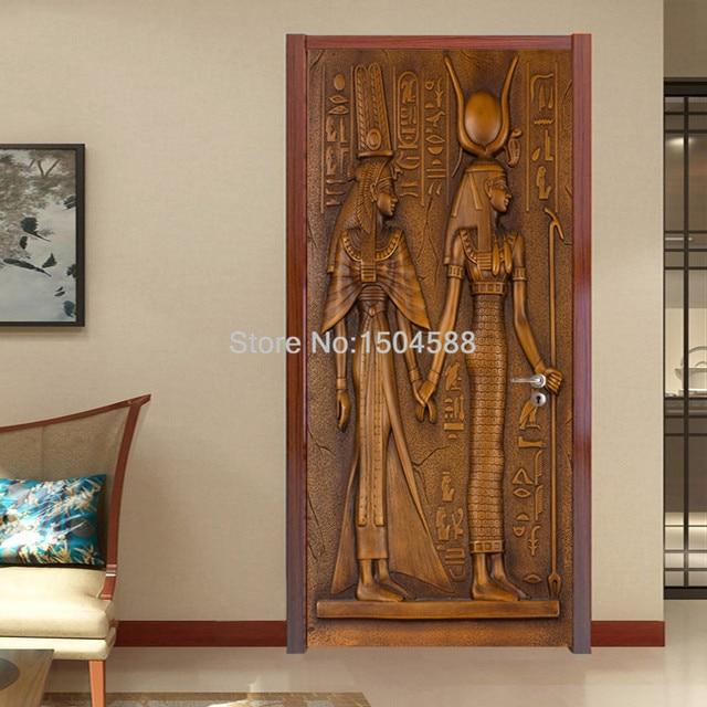Европейский стиль ретро стикер двери 3d египетские скульптурные