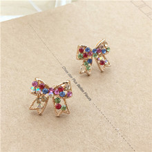 New Fashion Rhinestone Colorful Bow Earrings Vintage Jewelry Drop shipping Bowknot E725
