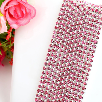 1 ярд/шт, 30 цветов, стеклянные хрустальные стразы на цепочке, Серебряное дно, Пришивные цепочки для рукоделия, украшения сумок для одежды - Цвет: Pink