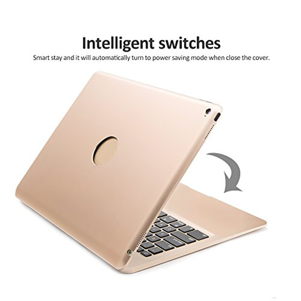 Aluminum Bluetooth Keyboard Case for iPad Pro 12.9 Model A1584/A1652/A1670/A1671 Slim Protective Cover with 7 Colors Backlit - 5