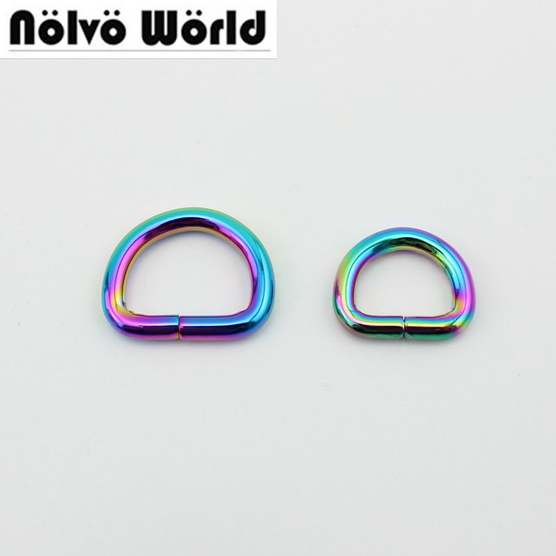 50pcs 25mm  20mm Opened D Ring Rainbow Round Edge Alloy Metal Round Edge D-ring Non Welded