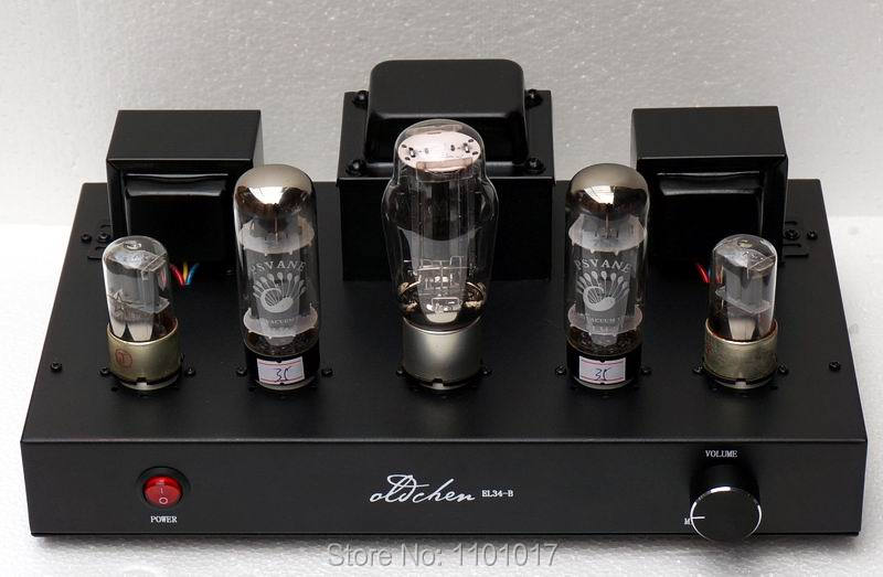 LaoChen EL34 Amplificador Valvulado Aiqin HIFI EXQUIS Classe Single-ended UM Amplificador artesanal Preto Versão OC34 Oldchen