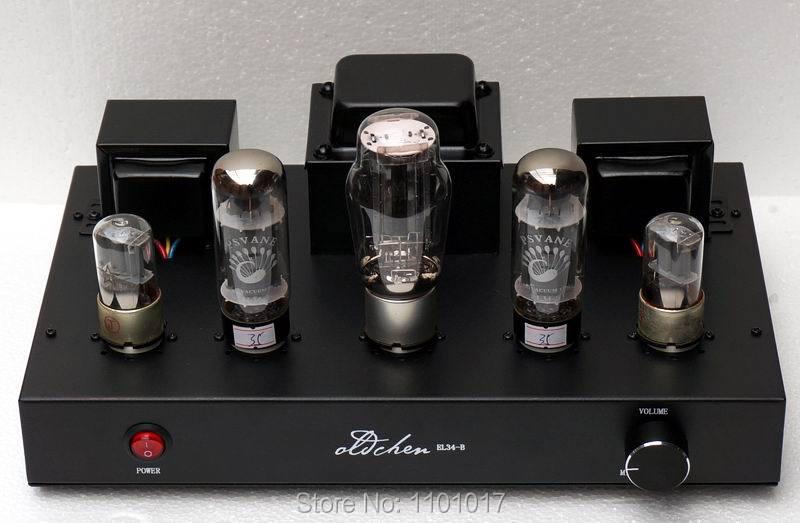 LaoChen EL34 Tube Amplificateur HIFI EXQUIS Aiqin asymétriques Classe A à la main Amplificateur Noir Version OC34 Oldchen