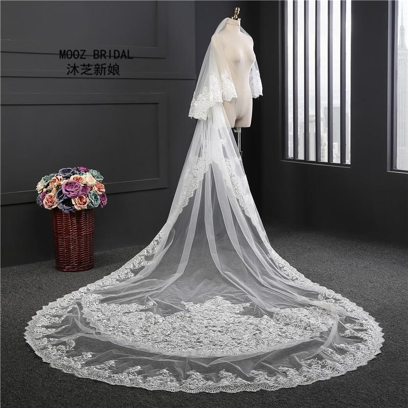 Bridal Veil 4M Long 1.8 Meters Wide Sequin Lace Edge Church Bride Wedding Accessories Veil White GHL