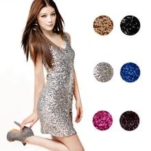 V-Neck Sleeveless Mini short Sexy Sequins Dress Sheath Dress for Party