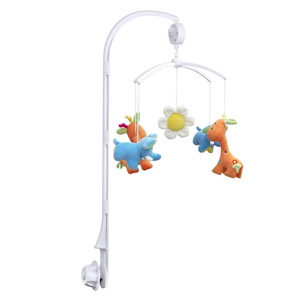 White Baby Crib Mobile Bed Bell Toy Holder Arm Bracket + Wind-up Music Box  / Baby Bed Hanging Rattles Toys Hanger Rotate