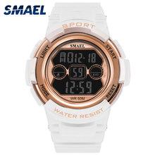 Zegarki cyfrowe kobiety moda zegarek SMAEL biały zegar kobiety złota róża zegarki marki luksusowe 1632B wodoodporny zegarek sportowy panie tanie tanio 18mm Odporny na wstrząsy Stoper Wyświetlacz led Auto data Wyświetlacz tydzień Odporne na wodę Podświetlenie Chronograph