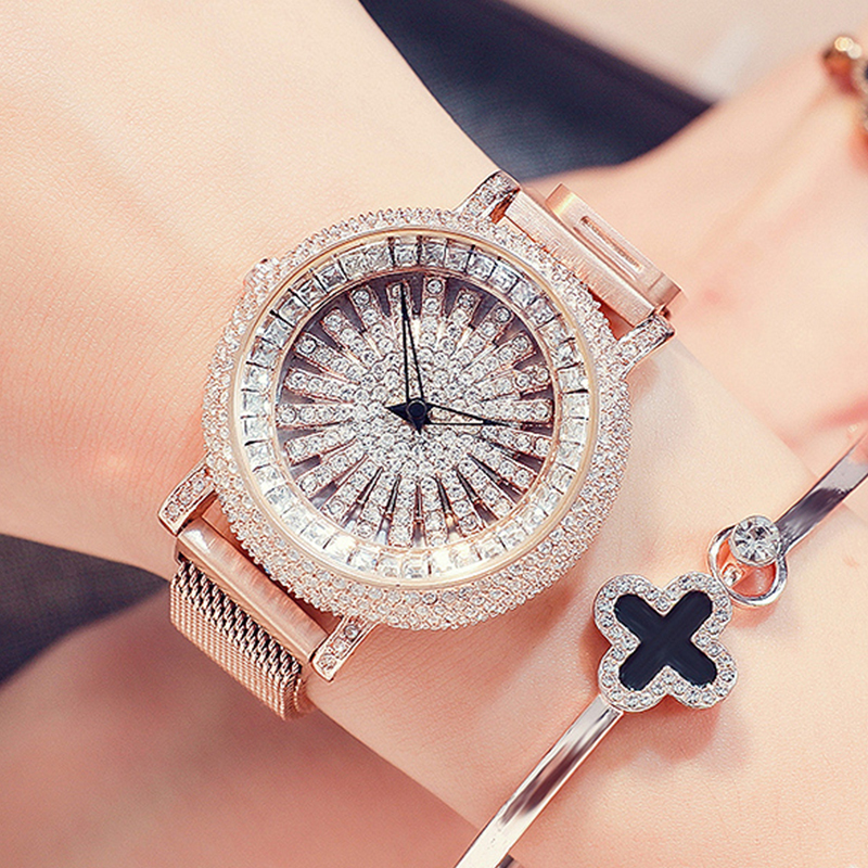 2019 Rotate Crystal Diamond Women Watch Luxury Brand Stainless Steel Ladies Watch Gold quartz wrist watch