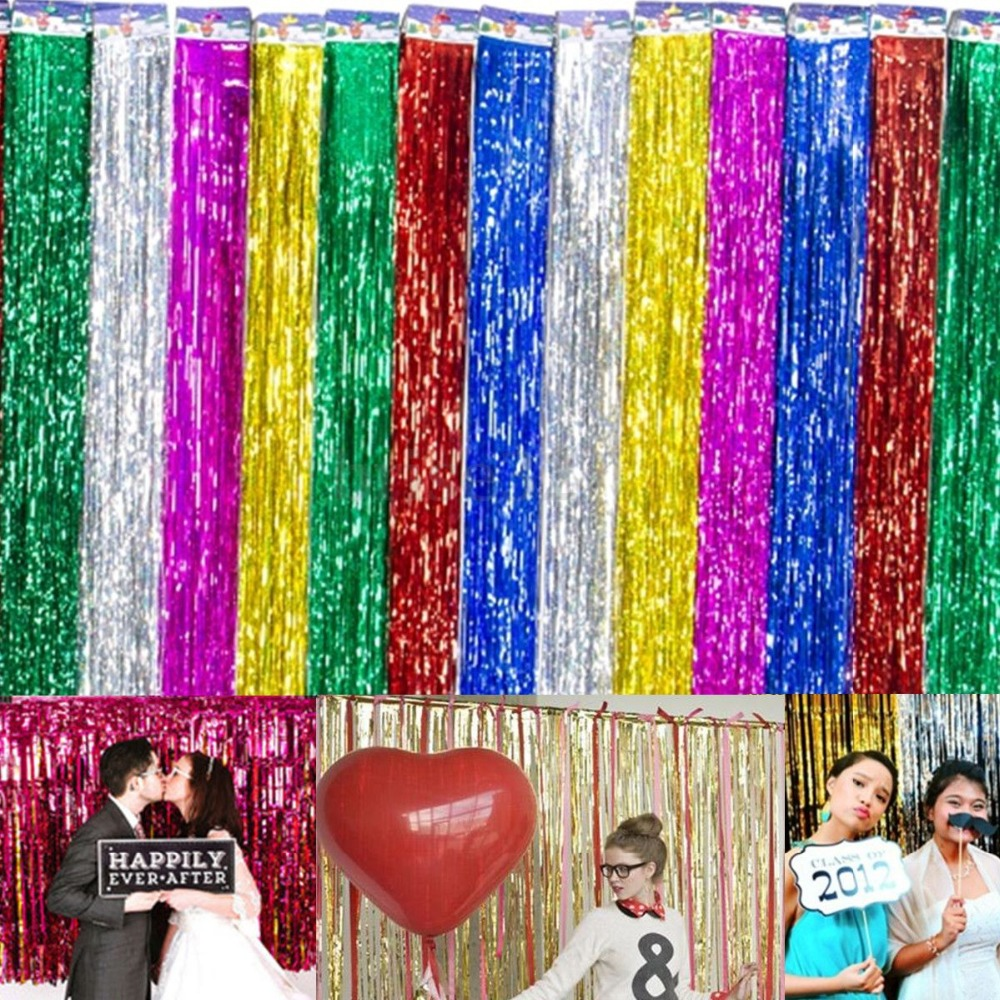 200x100cm shimmering Gold Silver Metallic Tinsel Curtain Foil Room Shiny Pub party Stage wedding decoration backdrop