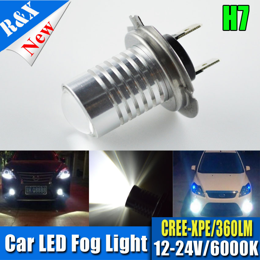 1x5W White H7 XPE LED High Power Daylight Car LED Fog Driving Lights Automobile Daytime Running Lights Auto Lamp LED H7+lens dc12v h7 7 5w 5led led fog light high power car auto led xenon white daytime running light bulbs headlight head lights