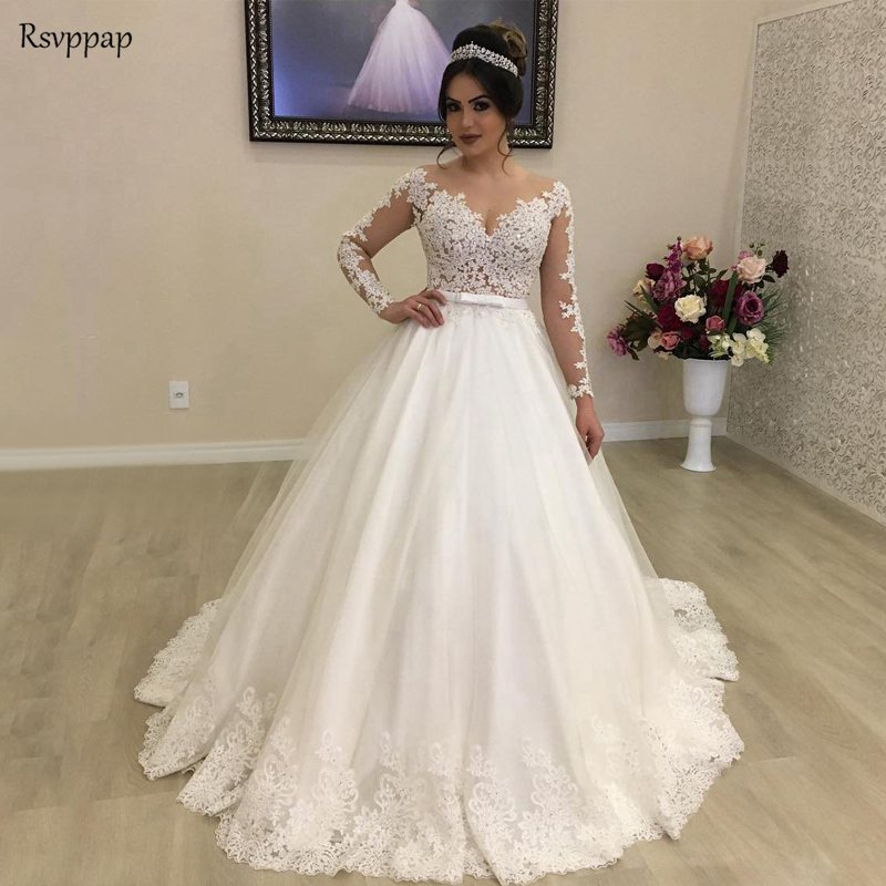 2019 Wedding Dresses With Sleeves: Vintage Wedding Dress 2019 Princess Long Sleeve Sheer