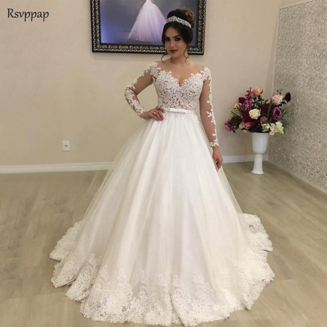White Lace Tulle Long Wedding Dress Bridal Gown: Vintage Wedding Dress 2019 Princess Long Sleeve Sheer