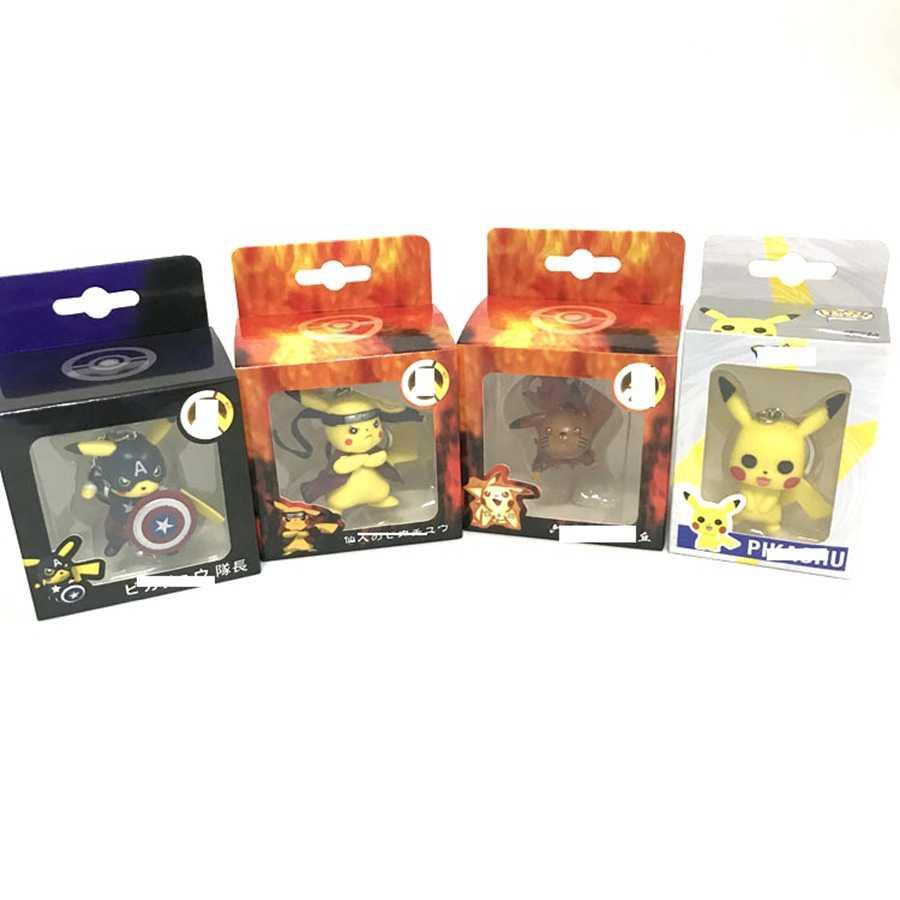 Cartoon bonito bolso monstro chaveiro pikachu cosplay capitão américa deadpool naruto figura de ação coleção modelo brinquedos