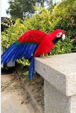 big polyethylene & furs parrot toy simulation red&blue wings bird model gift about 45cm 1329