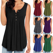 Zomer Knop V-hals Vest Tank Tops Mode Vrouwen Polyester Casual Solid Mouwloze V-hals Shirts Flowy Tank Tops Femme 2019(China)
