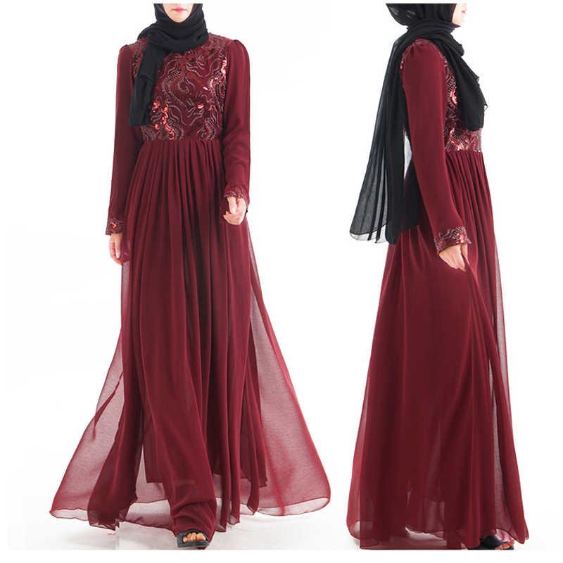 Vestidos De Paetês Abaya Dubai Árabe Hijab Muçulmano Eid Vestidos Vestido Mulheres Caftan Marocain Sukienki Turquia Kaftan Robe Musulmane