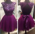 Short Mini Purple Homecoming Dress Party Gowns With Scoop Neckline A Line Backless Graduation Dresses For 8th Grade