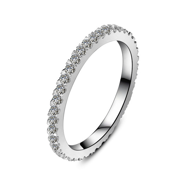Eternity Ring 055CT Quality Solid White Gold Synthetic Diamonds Band Infinity Women Wedding