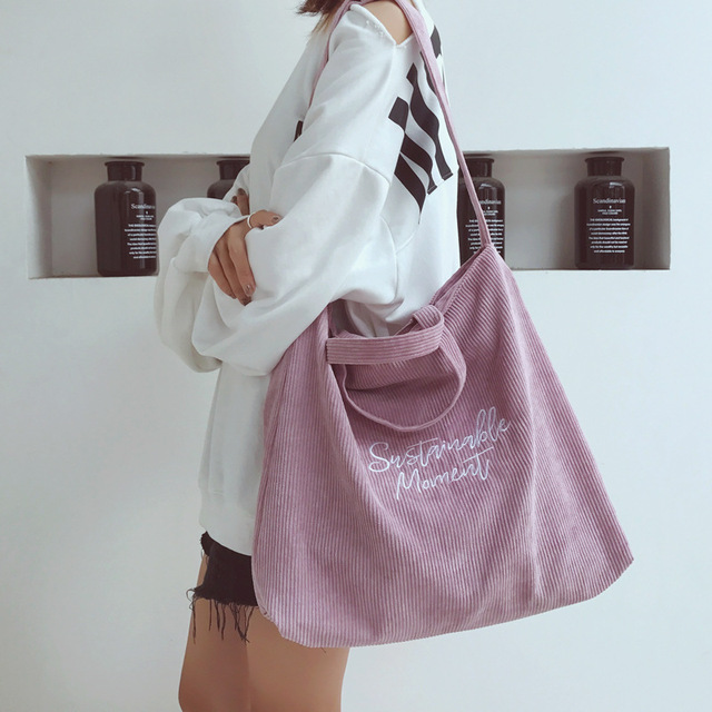 2e4fc18037 Large Capacity Special Oversized Shoulder Bag for Women Vintage Corduroy  Zipper Tote Bag Female Retro Letter