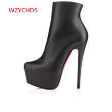 WZYCHDS Top Quality Women Shoes boots Red Bottom High Heels Sexy Pointed Toe Red Sole Wedding Shoes Escarpins Semelle 819-7RB