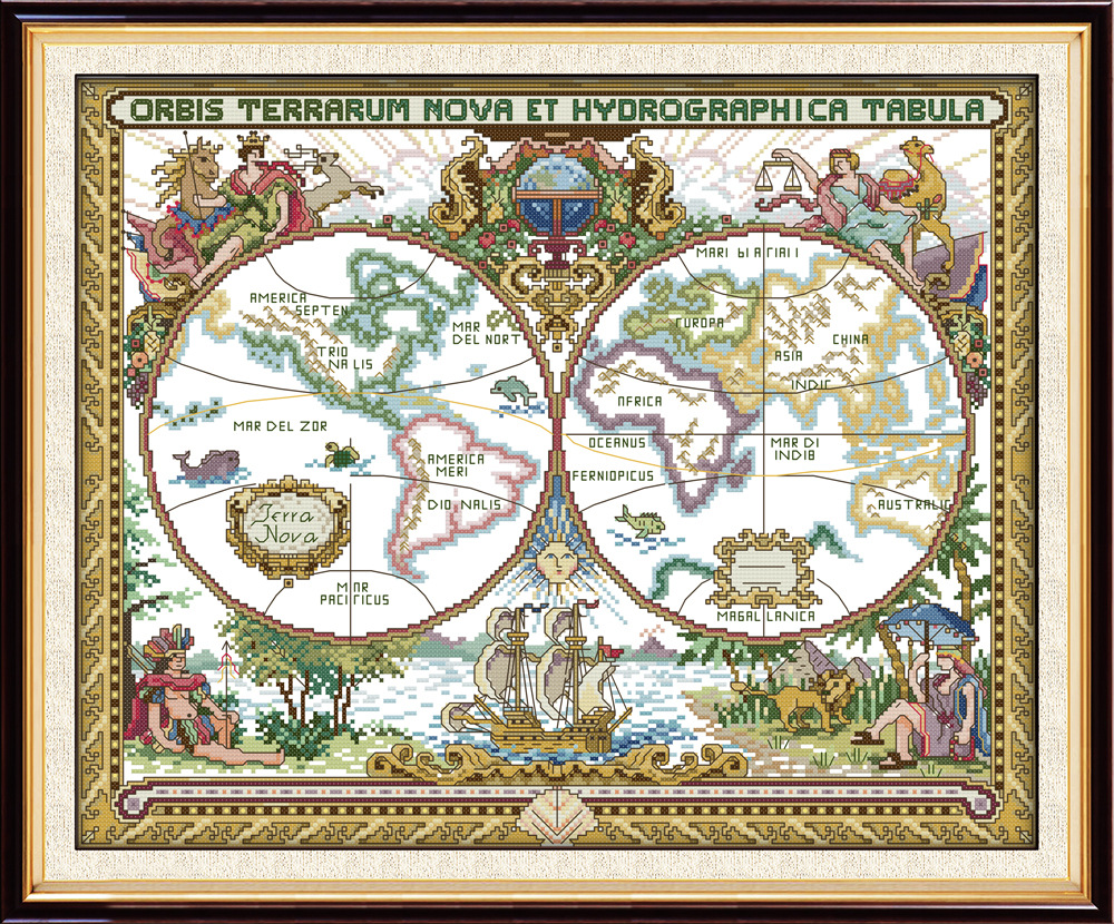 Joy Sunday Old world map DMC Counted Chinese Cross Stitch Kits printed Cross-stitch set Embroidery Needlework image