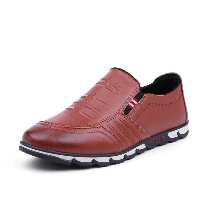 VESONAL 2020 yaz PU deri erkek ayakkabısı loafer'lar erkek Moccasins Flats yumuşak nefes rahat tekne sürücü ayakkabı sürüş C260