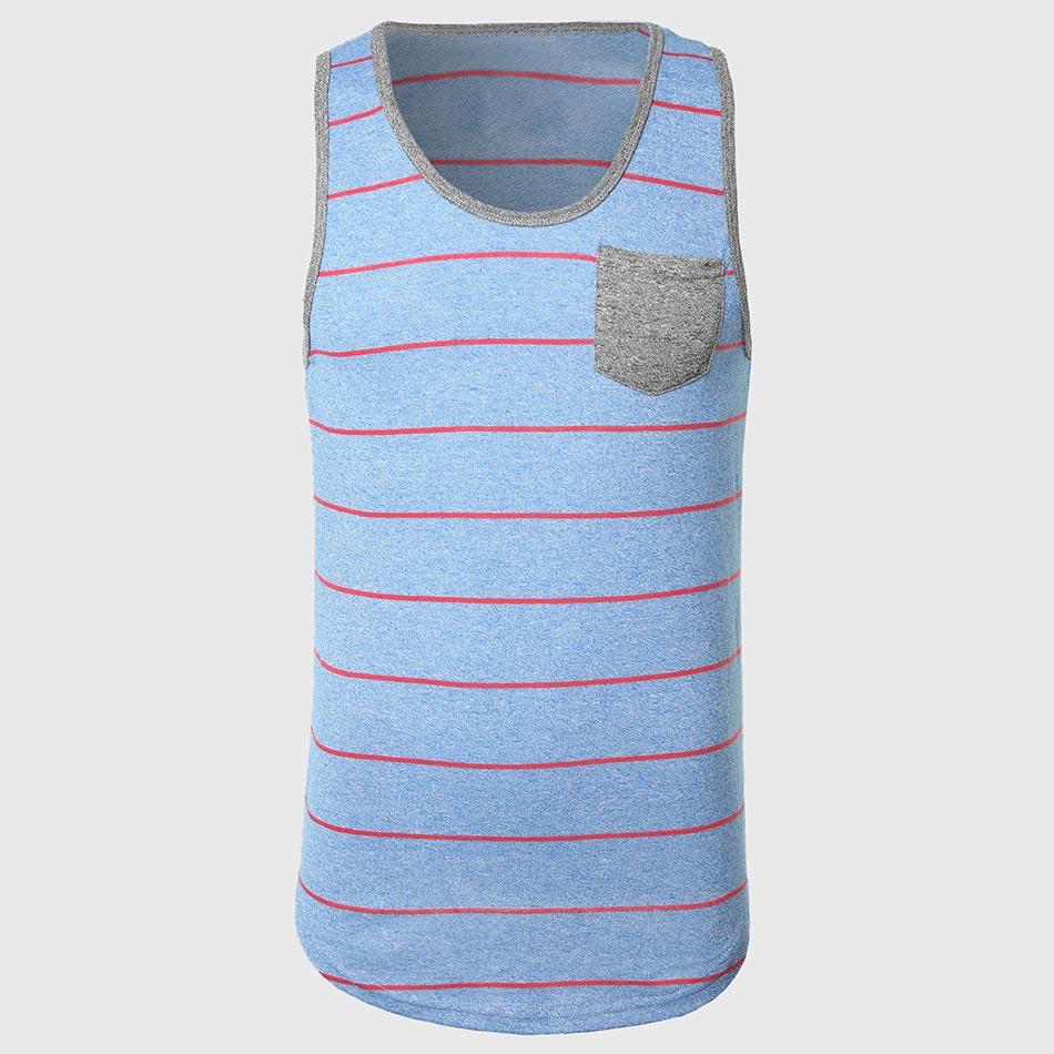 Men Block Stripe   Tank     Tops   Navy Pink Striped Vest Teens Cotton V Neck   Tanks   Stun Contrast Pockets Casual Fit Wear