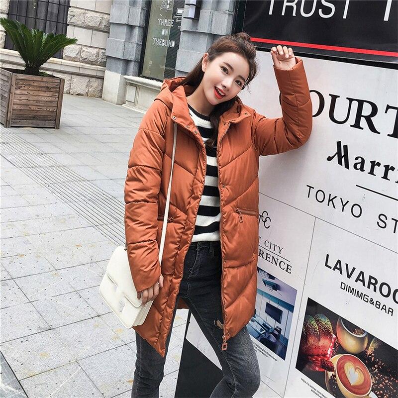 Mujer 2018 Abrigo Largo Alta Parkas Delgado Señoras Con Invierno Caliente  De Outwear Brown Capucha Calidad ... 499a55ae90ac
