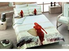 Комплект постельного белья двуспальный-евро VIRGINIA SECRET, Bamboo, девушка, белый, 3D