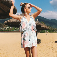 Summer Floral Printed Playsuits Off Shoulder Overalls Femme Jumpsuit Casual Deep V Neck Backless Ruffles Women's Bodysuits H3E4