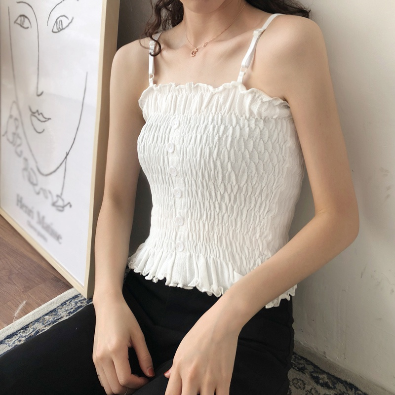 Women Knitted Camis Female Tops Summer Ruched Sexy Tops Strapless Shirts