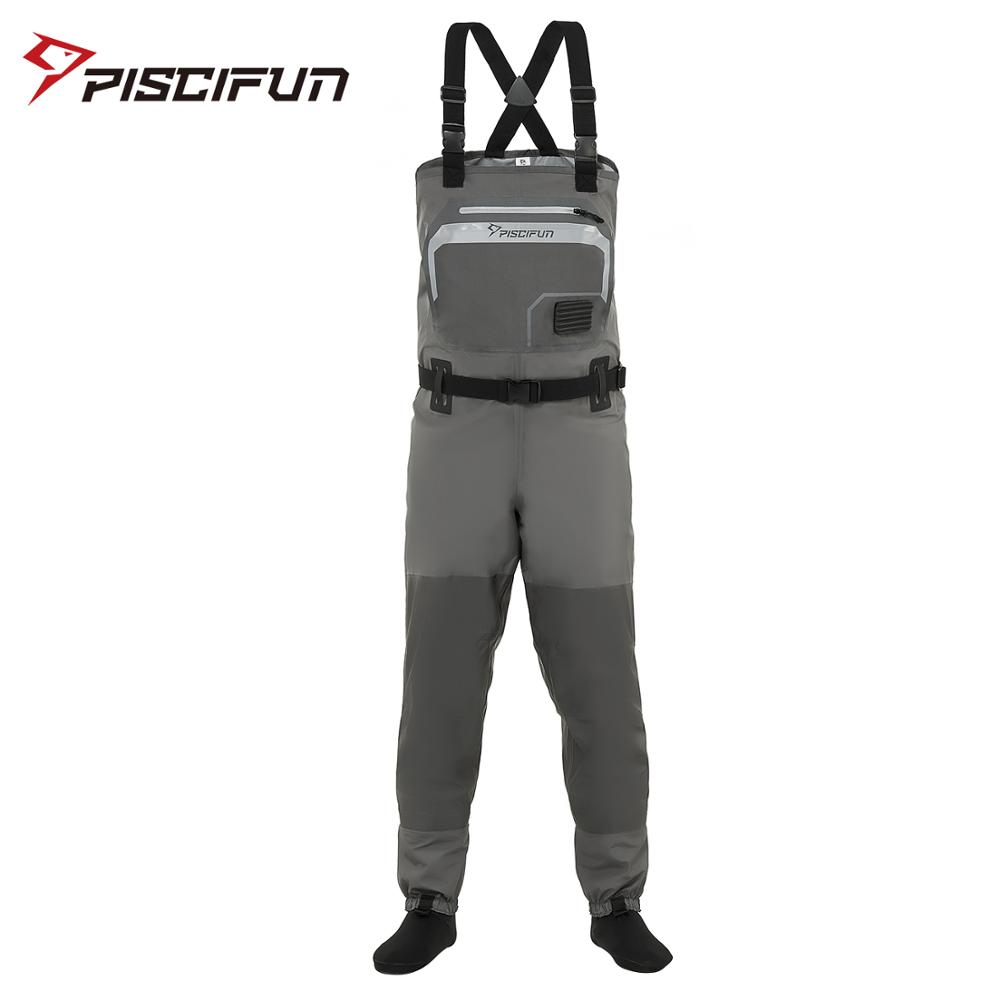 Piscifun Polyester Breathable Waterproof Stocking Foot Fly Fishing Hunting Chest Waders Pant for Men and Women with Phone Case