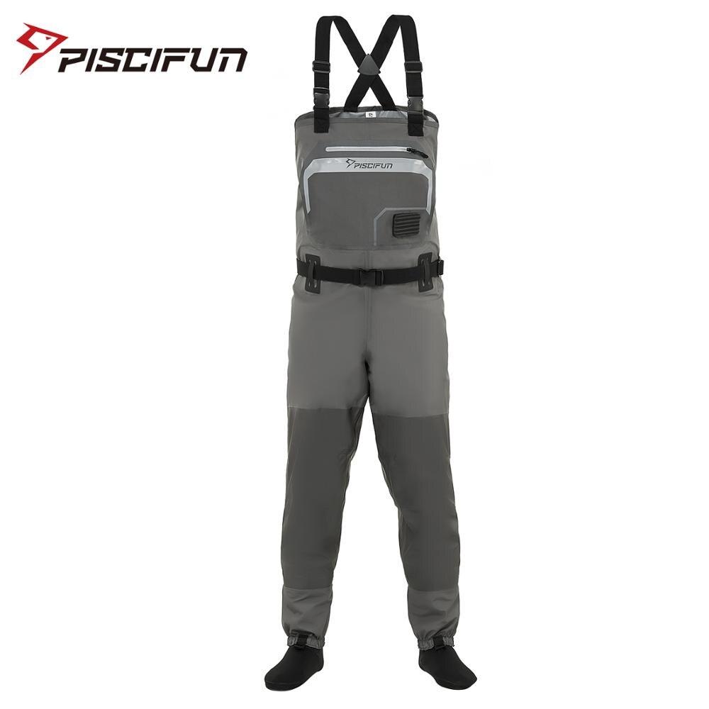 Piscifun Polyester respirant imperméable bas pied mouche pêche chasse poitrine cuissardes pantalon pour hommes et femmes avec coque de téléphone