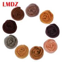 LMDZ 1PCS Brown Sheep Felting Wool Fibre Flower Animal Wool Roving Needle Handmade Spinning DIY Craft Felting Materials 50g
