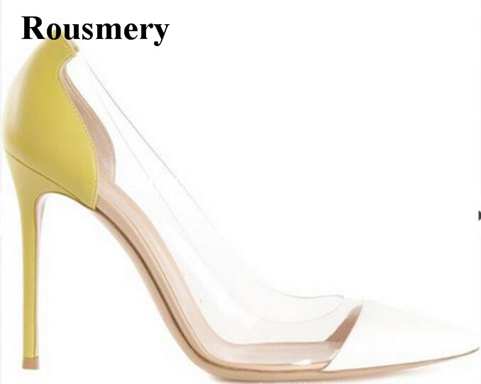 Rousmery Hot Sale Stylish PVC Patchwork Mixed Colors Office Shoes Strip Women High Heels 10 cm Pointed Toe Shallow Cut Pumps