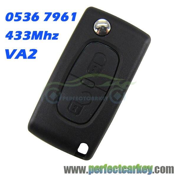 Prix pour 2 bouton CE0536 VA2 Rainure 433 Mhz ID46 7961 Puce voiture télécommande auto flip clé à distance pour Peugeot 207 307 307 S 407 607