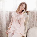 Free Shipping Vintage Pajama Sets Pure Cotton Princess Pijama Female Autumn Long-Sleeved Pyjama Sweet Lace Sleepwear s16049