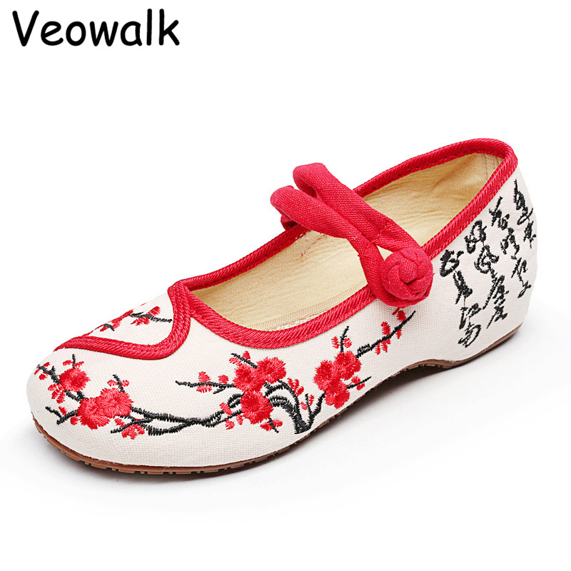 Veowalk Women Cotton Flower Embroidery Shoes Vintage Ladies Casual Chinese Style Old Beijing Walking Ballet Flats Zapatos Mujer vintage embroidery women flats chinese floral canvas embroidered shoes national old beijing cloth single dance soft flats
