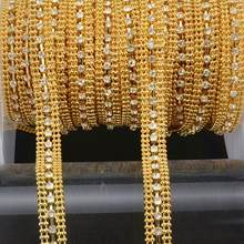 10yds Golded Beaded Chain Crystal Rhinestone Ribbon Lace Trim Apparel Sewing  Accessories DIY Wedding Dress Shoes Bags Decorative 7795ac1a4547