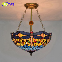 FUMAT Tiffany Pendant Lamp Dragonfly Grape 16 Inch Stained Glass Shade Green LED Hanglamp Living Room Hanging Fixture Lights