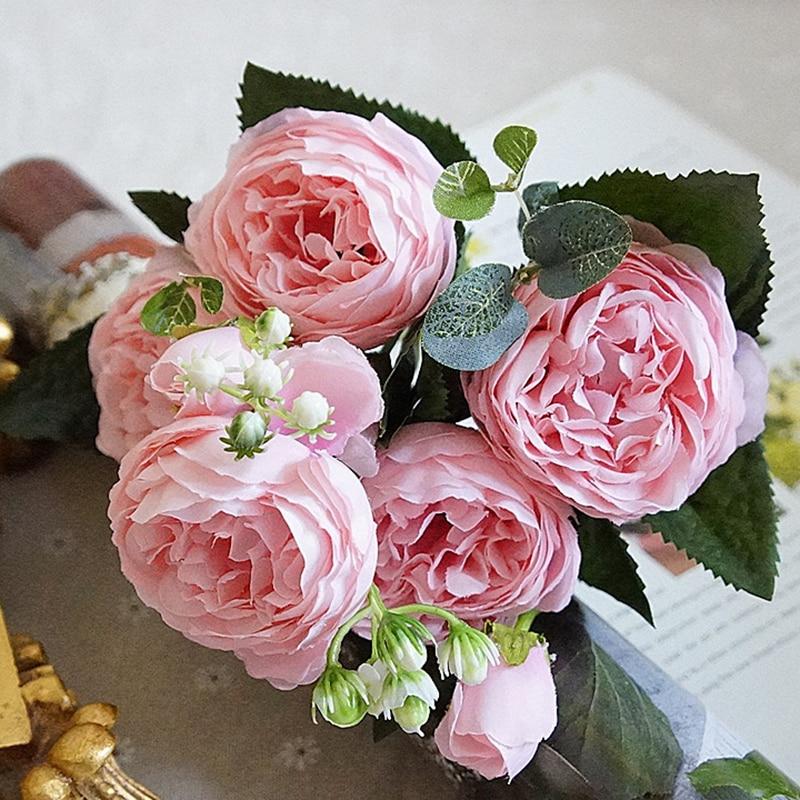 5 x Rose rose//Pink Art Fleurs-Soie Fleurs