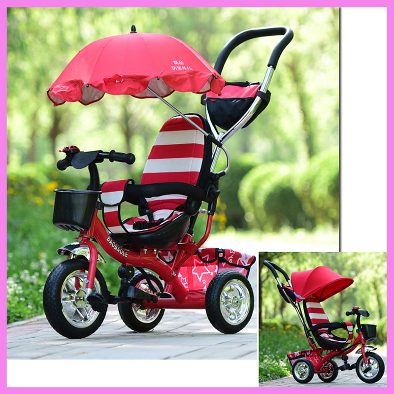 Inflatable Wheel Baby Stroller Tricycle Bicycle Bike Removable Detechable Umbrella Canopy Three Wheels Stroller Pushchair 1~6Y